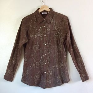 Wrangler Brown Silver Floral Embroidery Top Sz M